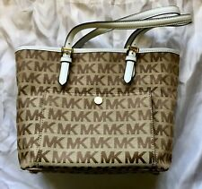 New! Michel Kors MK print beautiful light and dark brown with white trim bag