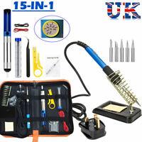 15pcs Kit Professionale 60W Saldatore Elettrico Stagno Saldatura Assortimento