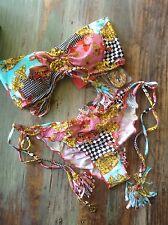 Luli Fama ~ Party Princess ~ SALE bikini ~ L ~ fun & flirty print w/tassels/SEXY