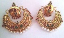 Indian Gold Oxidised Jhumka Jhumki Antique Gold Plated Red  Green Stone Earrings