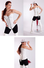 White Pure Leather Over bust Corset Real Steel Bones Lace up Back Front Busk