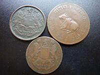 91336a020e 3 Old India Coins Inc 2 Quarter Anna's 1833,1835. Cow Laying Down Coin