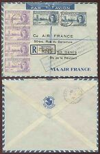 MAURITIUS to REUNION 1946 AIRMAIL VICTORY FRANKED REGIST.AIR FRANCE BOXED CACHET
