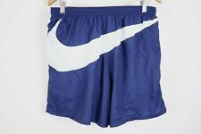 Vintage 90s RARE Nike Swim Trunks Big Swoosh Logo sz XL Navy Blue