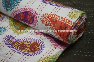 Indien White Multi Color Paisley Printed Handmade Queen Kantha Quilt Bedspread