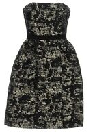 PAULE KA Black Floral Design Jacquard Strapless Dress. UK 10/FR 38. RRP 675