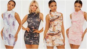 Womens Ladies Sleeveless Stretch Bodycon Mini Dress Party Marble Tie Dye Dress