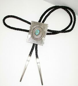 Vtg. Navajo Lester Jackson Sterling Silver & Turquoise Bolo Tie-Native American
