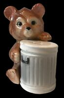 Novelty Vintage Ceramic Salt Pepper Cruet Set Baby Bear With Dustbin Trash Bin