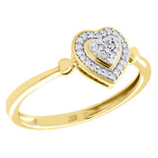 Right Hand Cocktail Ring 0.10 Ct. 10K Yellow Gold Pave Diamond Tiered Heart