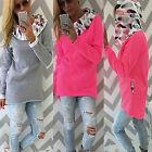 Women Casual Long Hoody Hoodie Floral Hooded Pullover Sweatshirt Jumper Coat Top