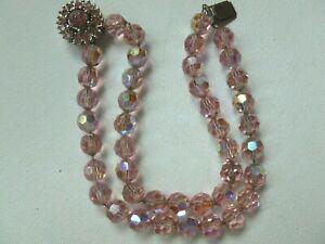 Vintage Signed Bergere Double Strand Rhinestone AB Pink Crystal Bead Bracelet