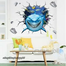 Great White Shark Fish Breakthrough Wall Decals Removable Stickers Kids Decor