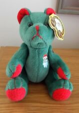 VINTAGE TATTOO BEARS JOLLY JOINTED BEAR RED & GREEN WITH SANTA TATTOO