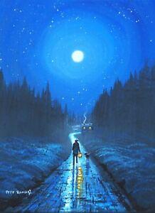 Pete Rumney Original Canvas Art On The Road To Home Lantern Light Moon Stars NR