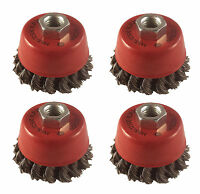"""4 x Twist Knot Wire Wheel Cup Brush 3"""" M14 for 4.5"""" 115mm 9"""" Angle Grinder"""
