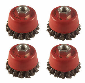 """4 x Twist Knot Wire Wheel Cup Brush 3"""" M14 for 4.5"""" 115mm Angle Grinder"""