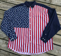 Vintage Structure XL Shirt Color Block American Flag Long Sleeve Patriotic 90's