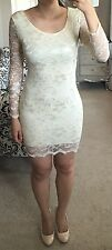 H&M Ivory Cream Beige Scalloped Floral Lace Sheer Long Sleeve Bodycon Dress 4 S