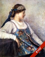 YOUNG UKRAINIAN WOMAN PORTRAIT PAINTING EARLY 1900 UKRAINE ART REAL CANVAS PRINT