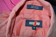 mens pre-owned long sleeve shirt by oxford.colour pink.size M. 100%cotton