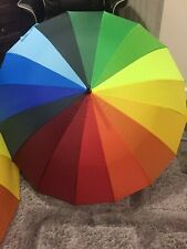 Large Multicolour Canopy Rainbow Umbrella Durable Strong Storm Windproof Parasol