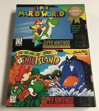 Super Mario World 1 + 2 Yoshi's Island Snes Nintendo CIB Complete Nr Mint Lot