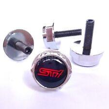 4X Chrome STI License Plate Frame Security Screw Bolt Caps Covers for WRX