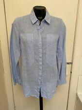 Autograph M&S Blue Linen Long Sleeved Shirt Size 10