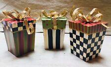 NIB MacKenzie-Childs Set of 3 GIFT BOX Glitter Christmas ORNAMENTS NLA & Retired