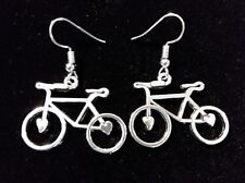 Unique Bicycle Pierced Earrings With Hearts Antique Silver free shipping