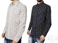 Camicia Uomo Casual Slim Cotone Fantasia Fiori Manica Lunga Vari Colori SARANI