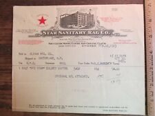 Antique Ephemera Billhead Document Chicago IL Star Sanitary Rag Company