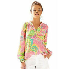 Lilly Pulitzer Elsa All Nighter Silk Top Shirt Blouse XXS New