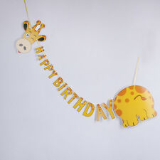 happy birthday giraffe paper banner hanging diy party decor bunting supplies_sh