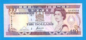 FIJI-10 DOLLARS-1992-SERIAL NUMBER G147614-PICK 94 , UNC .