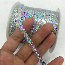 2Meter 10mm  Veloursband mit Pailletten und Lurex Verzieren Aufnähen Borte Wheiß