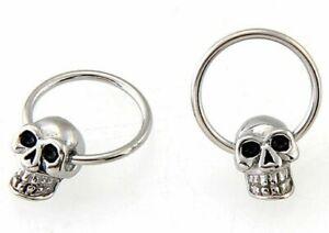1 x STEEL BCR Ball Closure Ring SKULL Earring Ear Nipple Lip Nose Brow 16 x 1mm