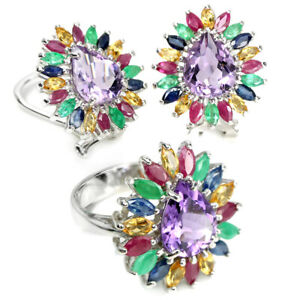 REAL PURPLE AMETHYST, EMERALD, RUBY, CITRINE & SAPPHIRE STERLING 925 SILVER SET