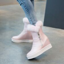 Women Ankle Boots Ruched Fur Lined Platform Snow Winter Hidden Wedge Heel Shoes