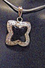 "Designer Inspired Silver /Black Onyx Quatrefoil Necklace w 16"" S. Silver Chain"
