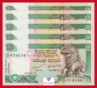 Lot 5 PCS, Sri Lanka 10 Rupees Banknote P-115, UNC, 2006