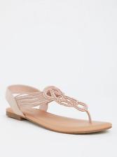 Torrid Blush Elastic T-Strap Rhinestones Flat Sandal Sz: 11 #89149