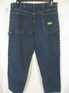 Wrangler Authentic 100% Cotton Med Rinse 36 x 32 Flat   Denim Carpenter Jeans