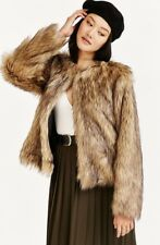 NWT Urban Outfitters brown Faux Fur Long Hair Jacket Coat 38 /  M