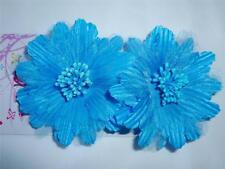 "NEW 2 Turquoise Aqua Blue Hair Flower Alligator Clip Barrette 3"" Inch Prom Dance"