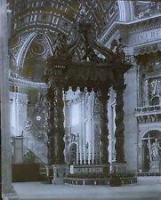Altar and Baldacchino, St. Peter's Cathedral, Rome, Magic Lantern Glass Slide