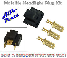 "Plastic Male H4 Headlight Plug Kit w/ Terminals fits 7"" Round Lamps"
