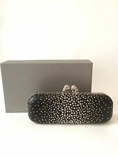 Alexander McQueen Black Silver Studded Twin Skull Leather Box Clutch