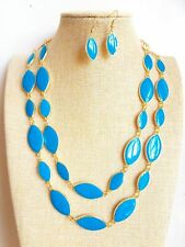 80's Vintage style Blue Oval Pendant Gold Plated Enamel Necklace Earrings set